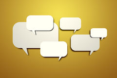 Blank speech bubbles on the wall Stock Photo
