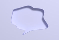 Blank speech sign in white background. 3D rendering of white speech bubble with blank space carved in white wall Royalty Free Stock Photography