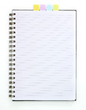 Blank spiral book with note paper Royalty Free Stock Photography