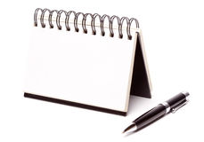 Blank Spiral Note Pad and Pen on White Stock Photos