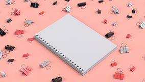 Blank spiral notebook with black, white and red binder clips on. Red table. Business, education or office mockup. 3D rendering illustration Royalty Free Stock Image