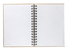 Blank spiral notebook open on white Stock Image