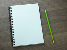 Blank spiral notebook and pencil Royalty Free Stock Photos