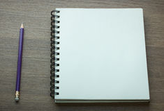 Blank spiral notebook and pencil Royalty Free Stock Image