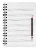 Blank spiral notebook and pencil isolated on white Stock Photo