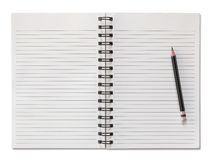 Blank spiral notebook and pencil isolated on white Stock Images