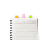 Blank Spiral Notebook with reminder Stock Image