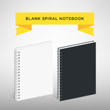 Blank Spiral Notebook Template : Vector Illustration. White and black color. Stock Image