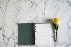 Blank spiral notebook with yellow rose flower on white and gray marble background. Minimal design with copy-space. royalty free stock photography