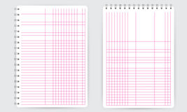 Blank spiral notepad notebook. Thin squared math grid lines vector illustration