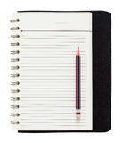 Blank spiral notepad and pencil isolated on white Stock Photography