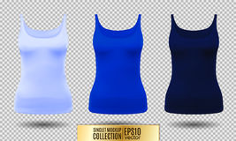 Blank sport tank top for women template set. Royalty Free Stock Images