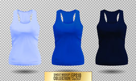 Blank sport tank top for women template set. Royalty Free Stock Photo