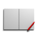 Blank spring copybook with a pen. Blank spring copybook with a red pen illustration Royalty Free Stock Photo