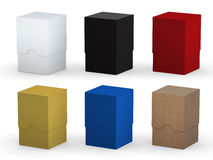Blank square box packaging set with clipping path Stock Photos