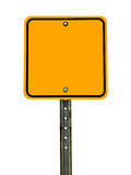 Blank Square Caution Sign. Photograph of a blank square shaped yellow caution traffic sign with black border. All text letters have been removed. Isolated on a Royalty Free Stock Photo