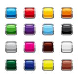 Blank square buttons icons set, cartoon style stock illustration