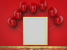 Blank square frame with red balloons. 3d rendered blank square frame with red balloons Stock Photos