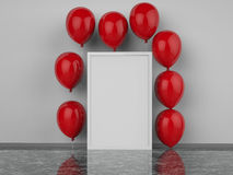 Blank square frame with red balloons. 3d rendered blank square frame with red balloons Royalty Free Stock Photo