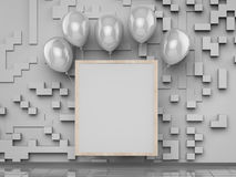 Blank square frame with silver balloons Royalty Free Stock Photos