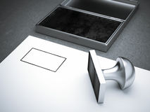 Blank square metal stamp Royalty Free Stock Photography