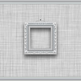 Blank square picture frame on a gray wall. With fabric texture Stock Photos