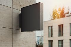 Blank square store signboard. Empty shop lightbox on the wall. 3d rendering. royalty free stock photos