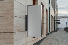 Blank square store signboard. Empty shop lightbox on the wall. 3d rendering. royalty free stock photography