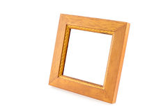 Blank Square wood frame in perspective view on isolated white ba Stock Image