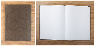 Blank squared notebook sheets on a table. Notebook with hierogly Royalty Free Stock Images