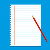 Blank stack white note paper on blue background Royalty Free Stock Photos