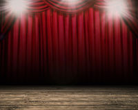 Blank stage with red curtain background vector illustration