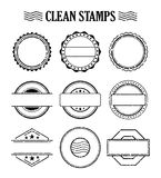 Blank stamp set, ink rubber seal texture effect Royalty Free Stock Photography