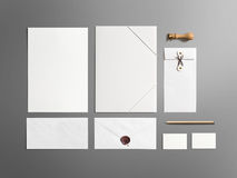 Blank stationery branding set isolated on grey Stock Photo