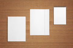 Blank Stationery Branding Template on wooden background. Consist of letterhead a4, folder, note Royalty Free Stock Photography