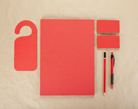 Blank Stationery on cardboard background. Consist of Business ca Stock Photos