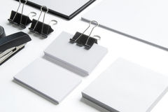 Blank stationery with clipping path  on white Stock Photo