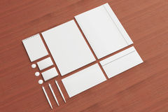 Blank Stationery / Corporate ID Set on wooden background Royalty Free Stock Image