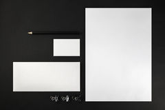 Blank stationery. And corporate identity template on dark background.  For design presentations and portfolios. Top view Royalty Free Stock Image