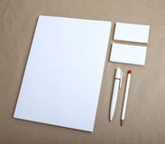 Blank Stationery on craft paper. Consist of Business cards, A4 l Stock Images
