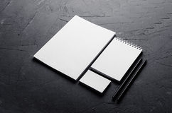 Blank stationery on elegant dark grey concrete texture. Corporate identity template. Mock up for branding, graphic designers prese royalty free stock photography