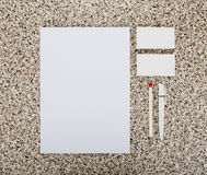 Blank Stationery on marble background. Consist of Business cards, A4 letterheads, pen and pencil. Blank Stationery on marble background. Consist of Business royalty free stock image