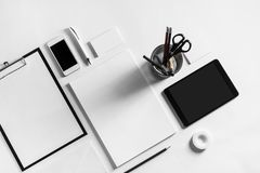 Blank stationery set. On white paper background. Template for branding identity. For graphic designers presentations and portfolios. Top view stock image