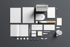 Blank stationery set isolated on grey Royalty Free Stock Image