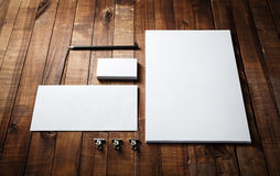 Blank stationery set. Photo of blank stationery set. Blank stationery template for branding identity for designers. Letterhead, business cards, envelope and Stock Photo