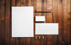 Blank stationery set. Photo of blank stationery set on wood background. Blank stationery and corporate identity template. Blank letterhead, business cards Royalty Free Stock Photography