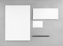 Blank stationery template. For placing your design. Photo of blank stationery set. Blank letterhead, business cards, envelope and pencil. Mockup for branding Royalty Free Stock Photos