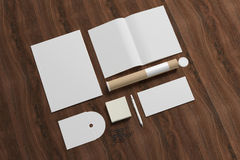 Blank stationery on wooden background.  vector illustration
