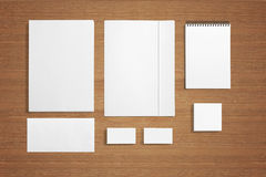 Blank Stationery on wooden background. Blank Stationery background. Consist of Business cards, Folder, envelopes, letterhead a4 and notes Stock Photography