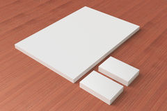 Blank Stationery on wooden background Royalty Free Stock Photos